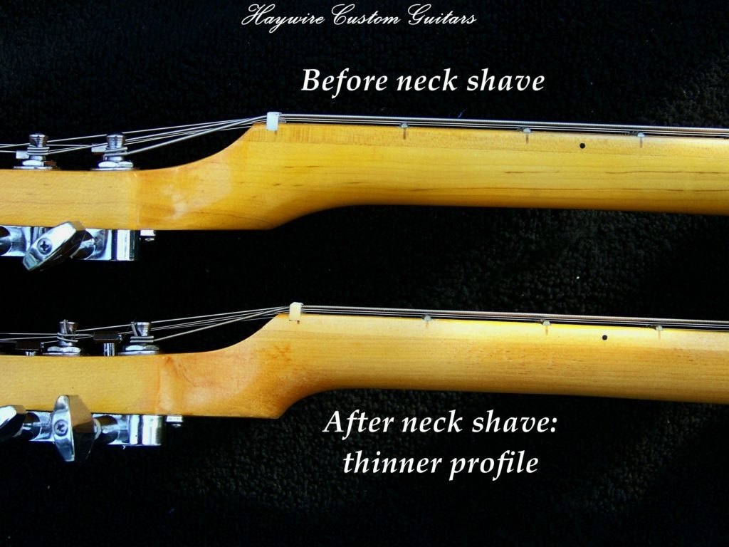 image Haywire Custom Guitars shave a guitar neck. Custom Neck shave before and after