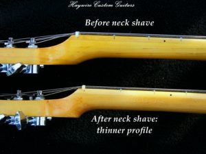 Haywire Custom Guitars Custom Neck shave before and after