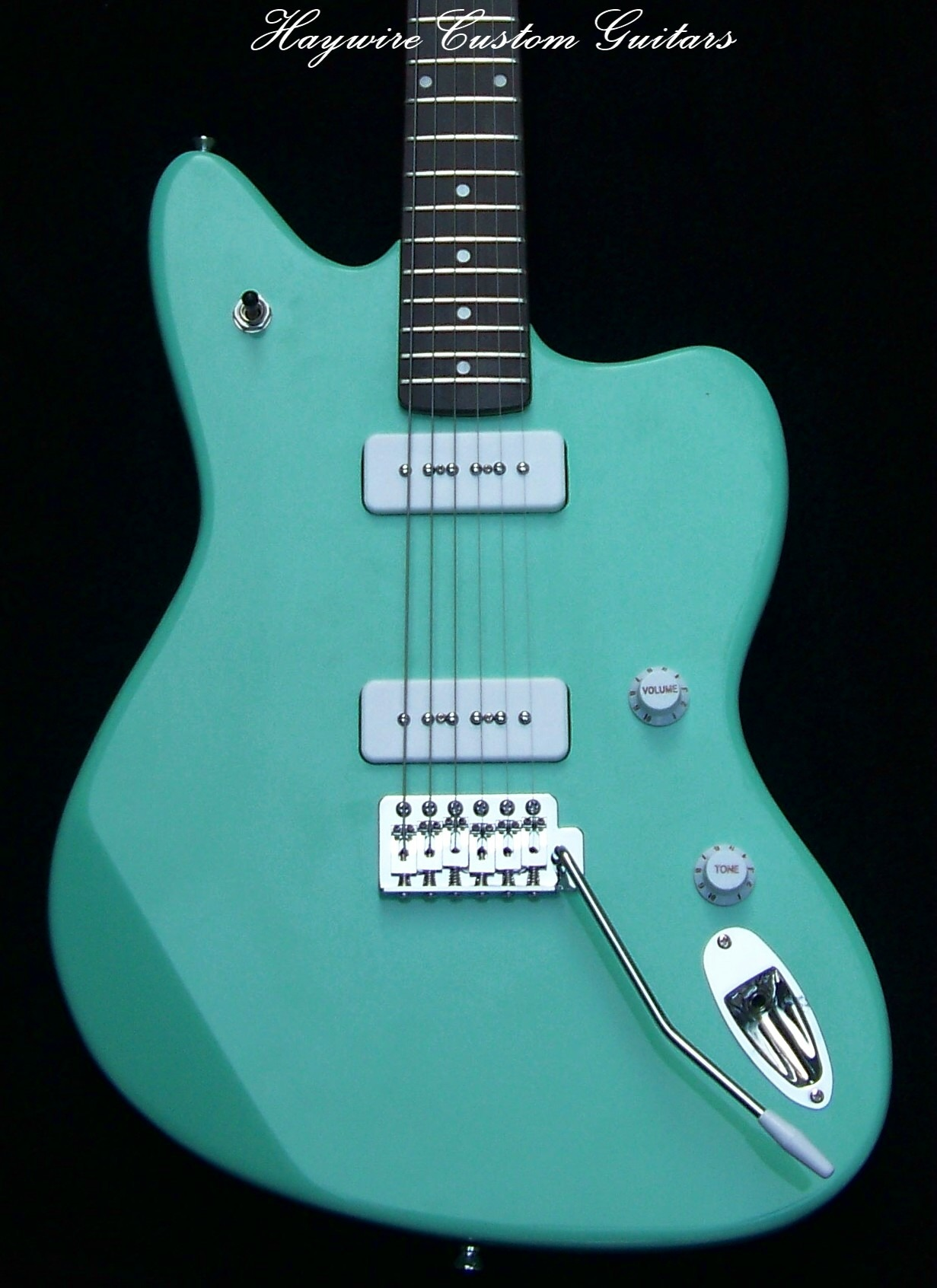 image New Haywire Custom Guitars Jazz White Pickup P-90 Surf Green 1