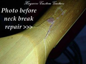 image Photo before neck break repair on a Les Paul
