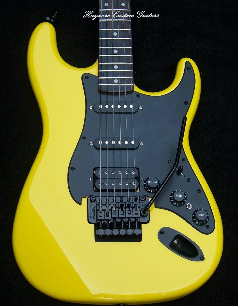 image of Yellow Haywire Custom Guitar after tune up