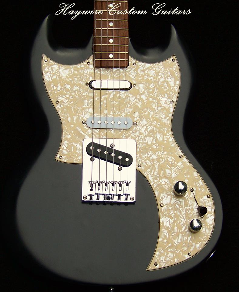 image Custom Guitar SG and Nashville Tele combination by Haywire Custom Guitars with Black Satin Lacquer finish