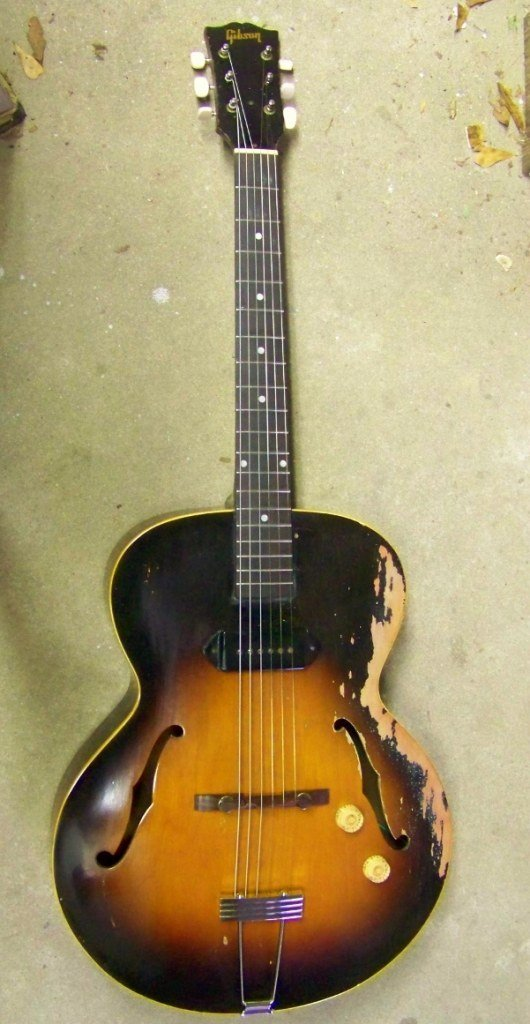 image Gibson ES-125 In the Haywire Custom Guitars shop after damaged guitar repair