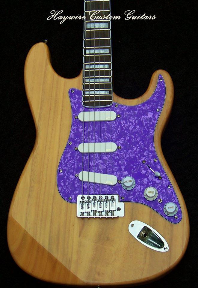 image HaywireCustom Guitars Swamp Ash Guitar with Purple Pearl Guard-A Perfect Guitar World!